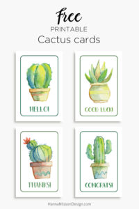Printable cactus cards - free downloads. | succulents | cards | thanks | congrats | hello | good luck | greeting cards |