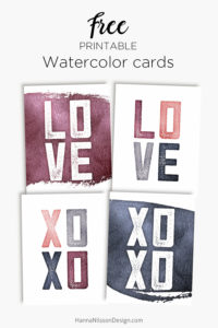 LOVE, XOXO - printable watercolor cards