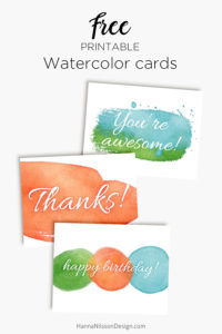 Printable watercolor cards - borthday, thanks, awesome