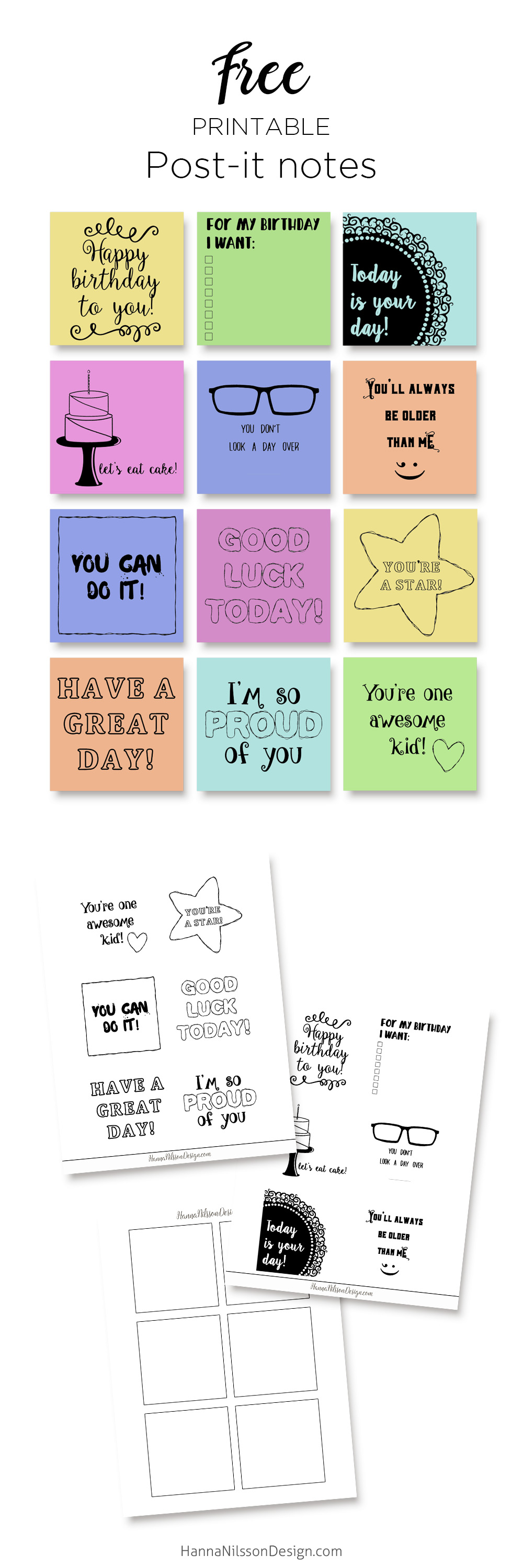 This is an image of Nifty Printable Post It Notes