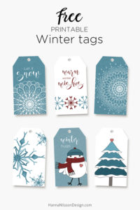 Free winter printables - tags, cards & boxes
