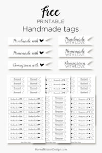 Homemade, handmade and homegrown - with love Tags - FREE printables