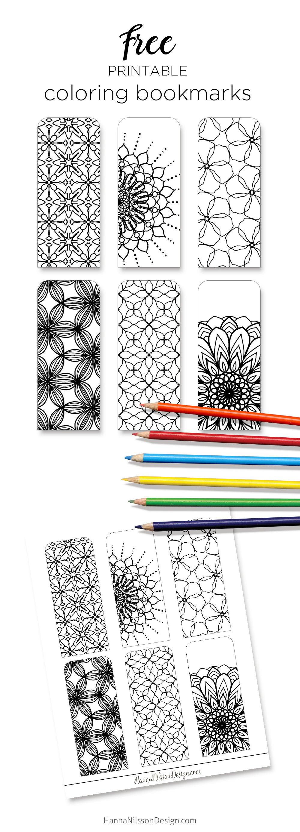Coloring bookmarks – print, color and read – Hanna Nilsson Design
