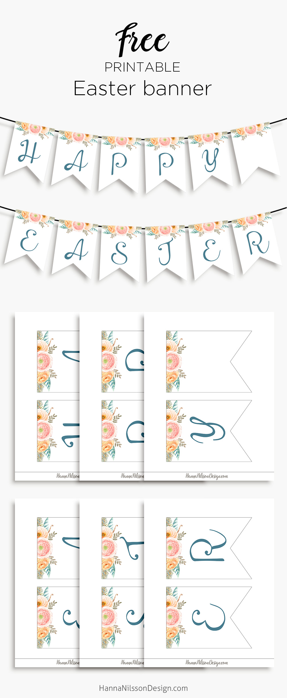 picture about Happy Easter Banner Printable called Joyful Easter- printable banner for your spring decor Hanna