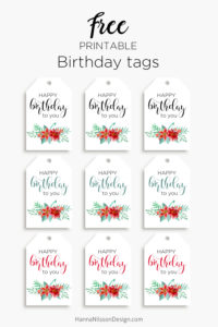 Printable Floral birthday cards, tags and gift box. FREE download!