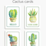 Printable cactus cards – Good luck! Hello! Thanks! Congrats!