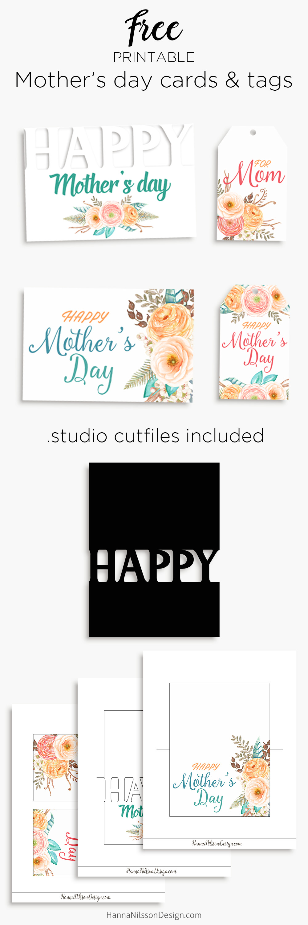 Happy mother's day | Printable cards and tags to celebrate your mom | .studio print and cut file included to use with Silhouette cutting machine