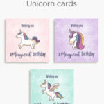 Magical unicorn birthday printable cards