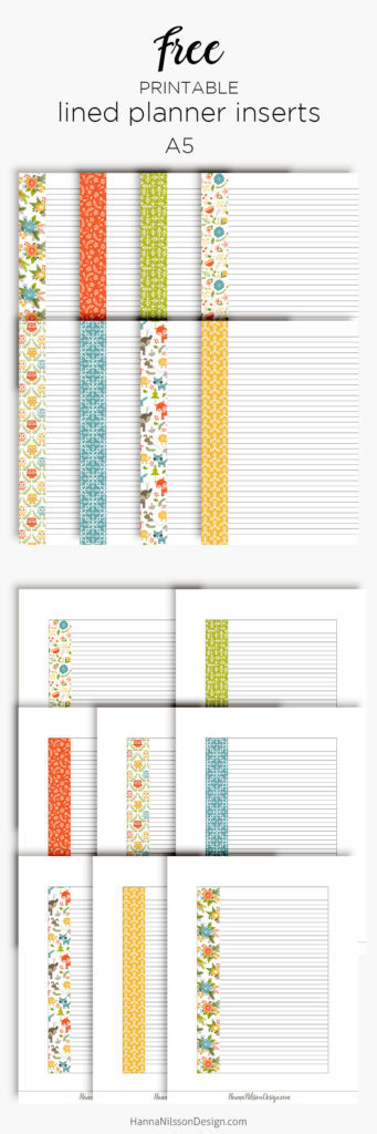 Lined planner inserts | Free printable download | Happy Planner | A5 planner | Personal Filofax |