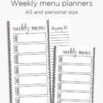 Weekly menu planner for A5 and personal planners