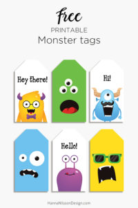 Free printable monster tags | kids tags printable PDF | birthday tags | lunch box notes |