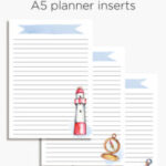 Nautical planner insert | A5 & Happy planner printable lists