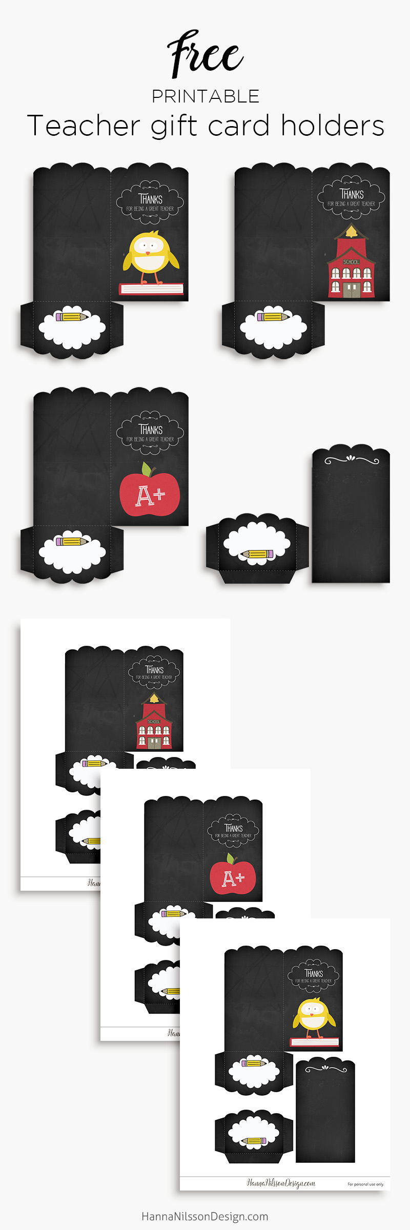 Back to school | printable gift card holders for teachers | free download |