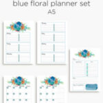 Blue floral planner calendar | A5 and Personal planner inserts