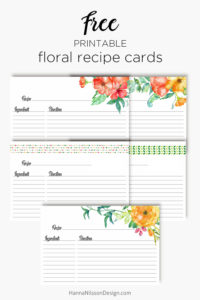 Floral recipe cards | organize your recipes | menu planner | free printable | recipe binder |