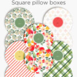 Patterned square pillow boxes | Printable gift boxes