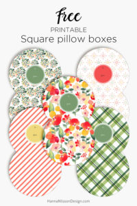 Patterned square pillow boxes | Printable gift boxes | #giftboxes #papercrafts #pillowbox #printables #freeprintable