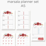 Marsala floral planner calendar inserts in A5 and personal size