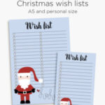 Christmas wish list printable planner inserts | A5 and Personal size