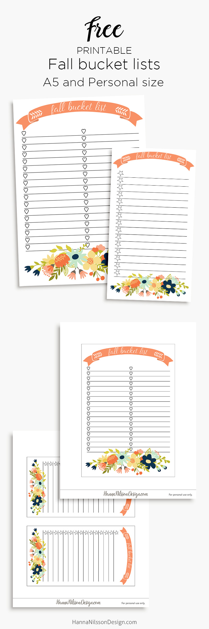 Fall bucket list planner insert | A5 and personal planner printable | #plannerprintable #filofax #fallprintable #bucketlist #A5planner