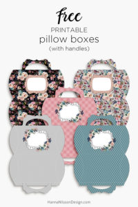 Floral pillow boxes with handle | printable pillow boxes | free download | #freeprintables #pillowbox #giftwrapping