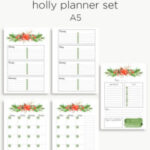 Holly planner calendar set | Christmas planner inserts