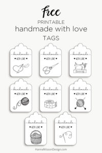 Handmade with love tags | add a pretty tag to your handmade gifts | sewing, knitting, crochet, yarn, fabric, scissors | #handmade #tags #freeprintables #printable #gifts