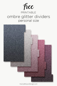 Ombre glitter planner dividers   A5 and personal size   #planner #printables #dividers #freeprintables #filofax