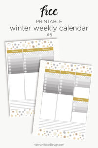 Winter weekly planer calendar | Printable planner calendar insert | Ombre to-do list and water trackers | #planner #filofax #printables #A5 #freeprintable