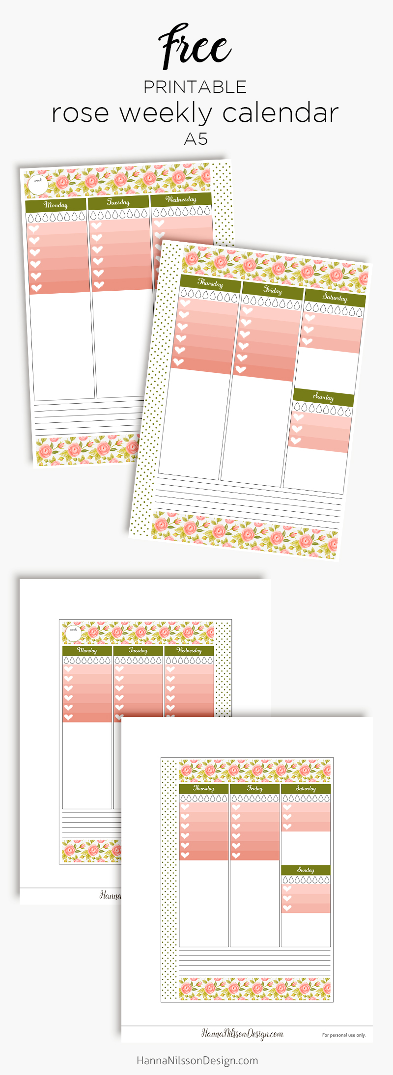 Pink rose weekly planner calendar | Printable planner calendar insert | Ombre to-do list and water trackers | #planner #filofax #printables #A5 #freeprintable