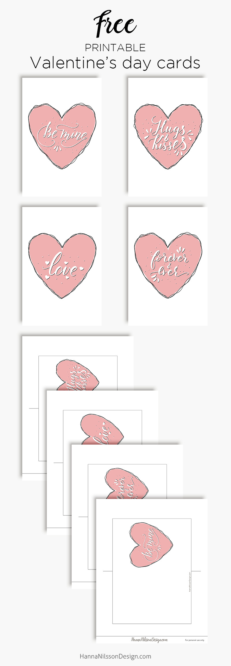 Valentine's day cards | Free printable cards | be mine, hugs and kisses, forever, love | #valentinesday #cards #freeprintable #printables #xoxo #heart