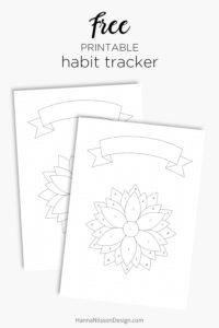 Free printable habit tracker with banner for your planner och bullet journal | Pretty flower shaped habit tracker with 31 petals to color in, one for each day. With numbers or without | #habittracker #planner #bulletjournal #filofax #freeplanner #printables