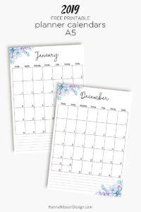 2019 monthly planner calendar | FREE printable planner insert | Get ready for 2019 with this pretty succulent planner calendar insert. Download for free and print at home. | #planners #plannerprintable #printable #freeprintables #calendar #2019