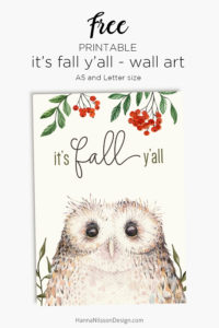 It's fall y'all free seasonal Wall art or Planner dashboard   Decorate your home and planner for fall with this cute owl and rowanberry printable   #autumn #printable #planner #fall #filofax #homedecor #freeprintables