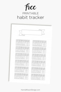 Free printable habit tracker with banner for your planner och bullet journal   Track a habit over a whole year with this pretty printable with dot grid beackground   #habittracker #planner #bulletjournal #filofax #freeplanner #printables #freeprintables