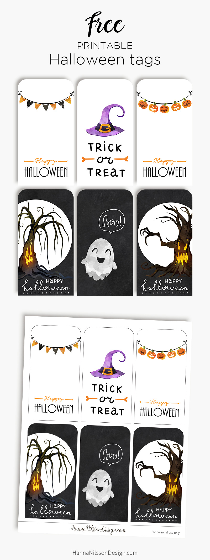 photo regarding Printable Halloween Tags known as Delighted Halloween tags No cost printable creepy lovable