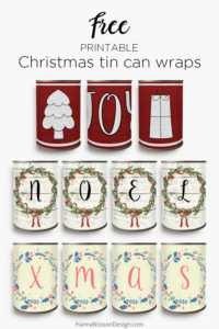 Printable Christmas tin can wraps | Print and wrap around tin cans for a simple and frugal decoration this Holiday season | Perfect for holding pens, as planters or candle holders | #christmas #printable #freeprintables #tincan #craft #diy #frugal