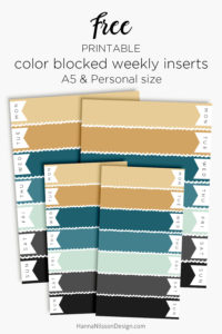 Color blocked weekly planner inserts | FREE printable for your A5 or Personal planner. Plan your week in pretty colors. | #freeprintable #printables #planner #filofax #happyplanner