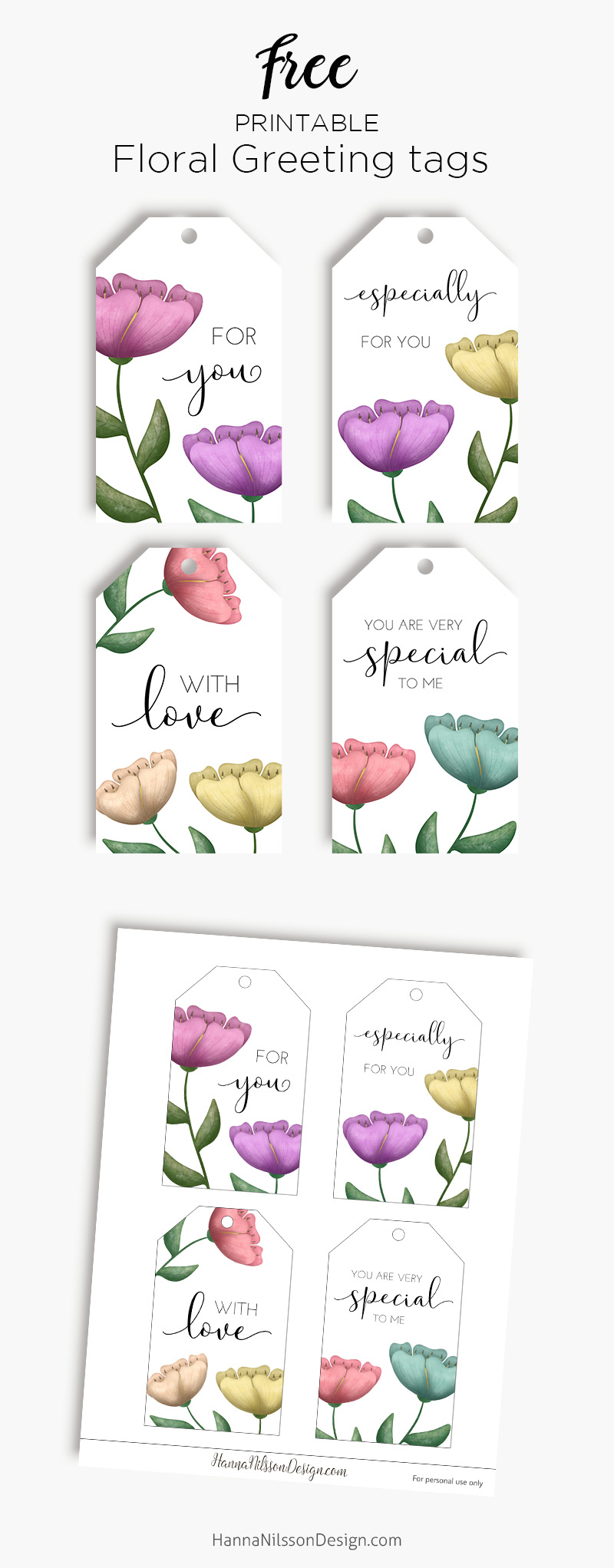 Watercolor Floral Gift Tags Hanna Nilsson Design